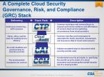 a complete cloud security governance risk and compliance grc stack