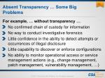 absent transparency some big problems