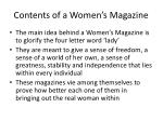 contents of a women s magazine