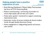 helping people have a positive experience of care