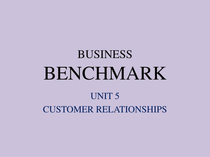business benchmark n.