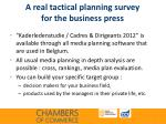a real tactical planning survey for the business press