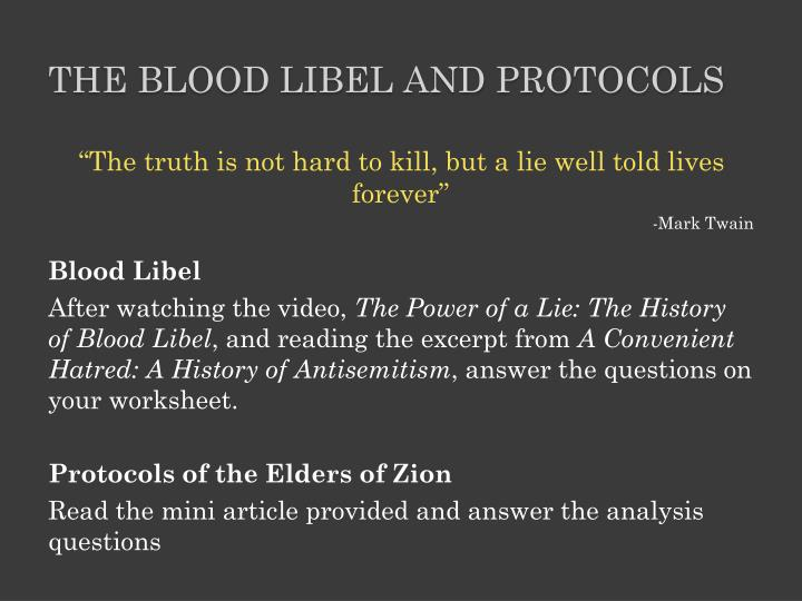 The Blood Libel and protocols