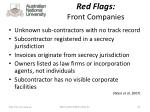red flags front companies
