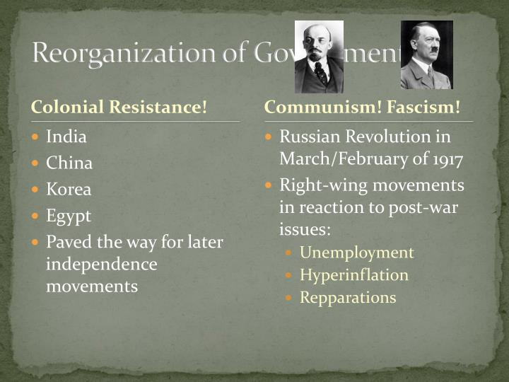 Reorganization of Governments