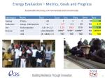 energy evaluation metrics goals and progress