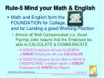 rule 5 mind your math english