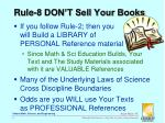 rule 8 don t sell your books
