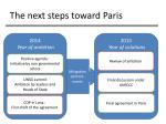 the next steps toward paris
