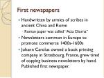 first newspapers