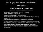 what you should expect from a journalist