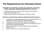 the requirements for informed choice