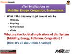 ataxi implications on mobility energy congestion environment
