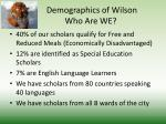 demographics of wilson who are we1