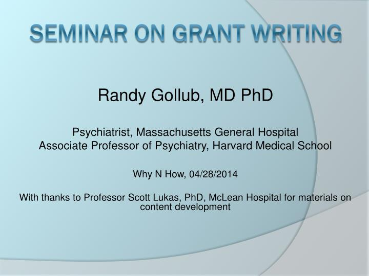 seminar on grant writing n.