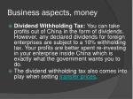 business aspects money