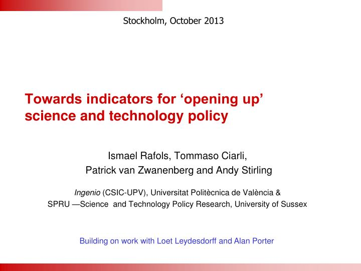 towards indicators for opening up science and technology policy n.