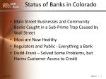status of banks in colorado