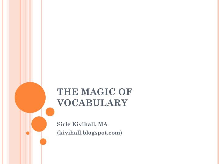 the magic of vocabulary n.