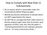 how to comply with new rule 11 substantively