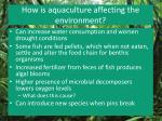 how is aquaculture affecting the environment