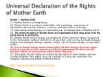 universal declaration of the rights of mother earth