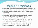 module 1 objectives