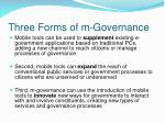 three forms of m governance