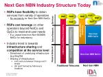 next gen nbn industry structure today