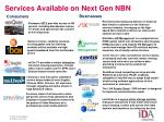 services available on next gen nbn