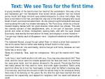 text we see tess for the first time