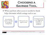 choosing a savings tool1