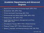 academic departments and advanced degrees