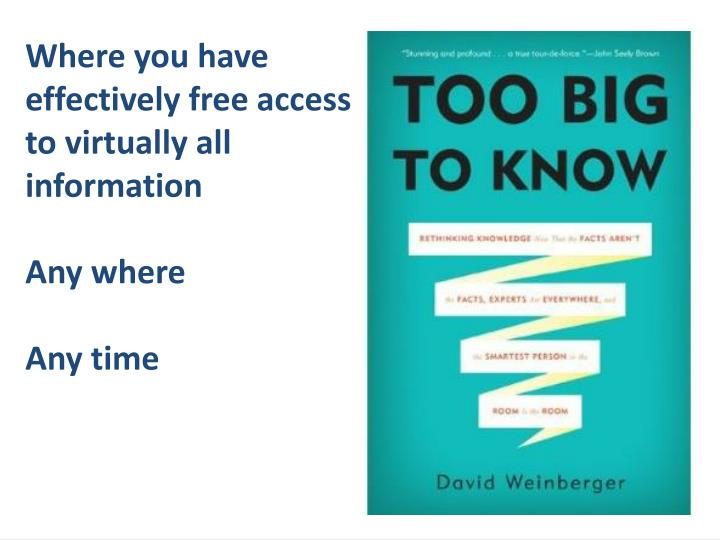 Where you have effectively free access to virtually all information