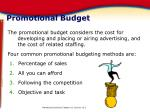 promotional budget