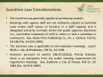 sunshine law considerations