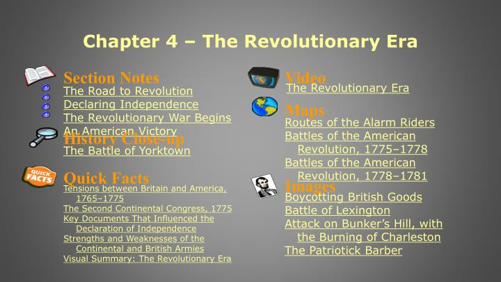 Ppt Chapter 4 The Revolutionary Era Powerpoint Presentation Id
