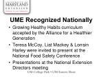 ume recognized nationally