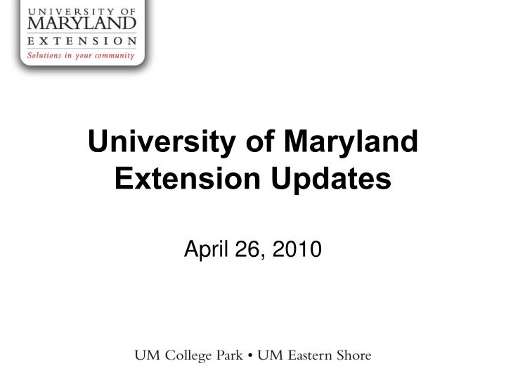 university of maryland extension updates n.