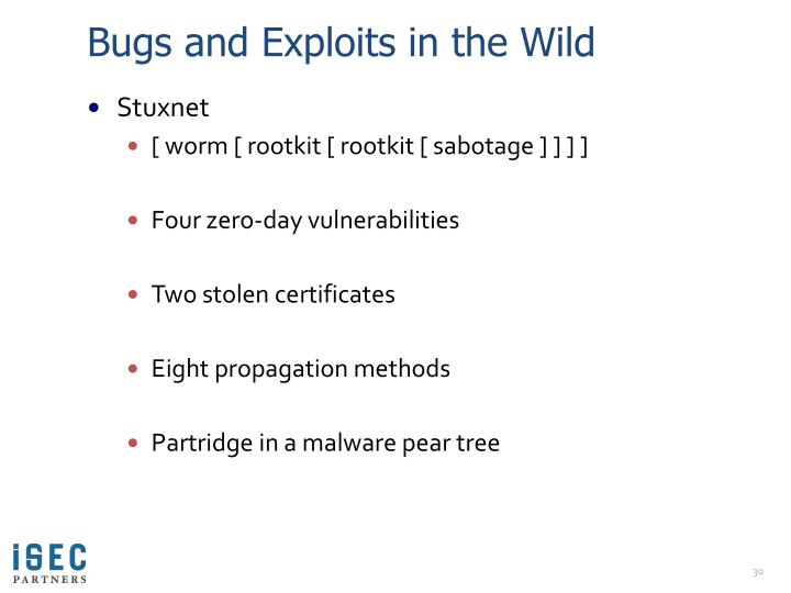 Bugs and Exploits in the Wild