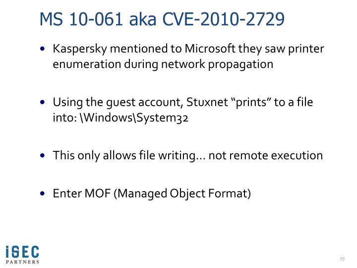 MS 10-061 aka CVE-2010-2729