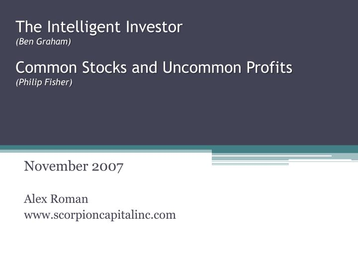 the intelligent investor ben graham common stocks and uncommon profits philip fisher n.