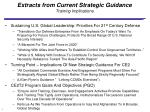 extracts from current strategic guidance training implications