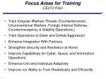 focus areas for training ce2t2 pgo