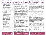 intervening on poor work completion