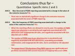 conclusions thus far quantitative specific aims 2 and 3