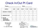 check in out pt card