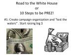road to the white house or 10 steps to be prez