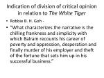 indication of division of critical opinion in relation to the white tiger