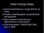 other activity ideas
